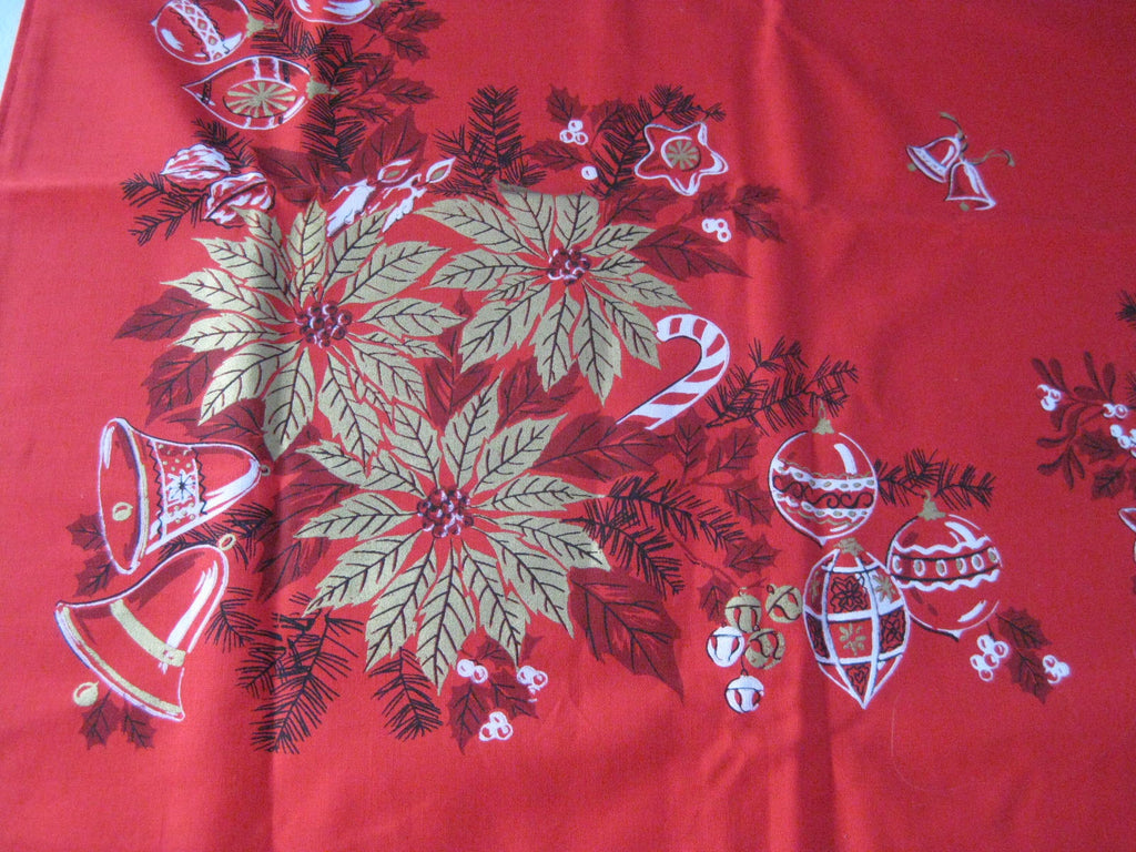 Square Christmas Poinsettia MWT Vintage Printed Tablecloth (51 X 49)