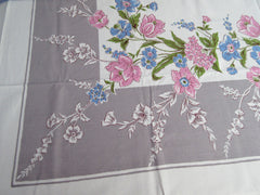 Pink Blue Roses Tulips on Gray NWOT Floral Vintage Printed Tablecloth (62 X 52)