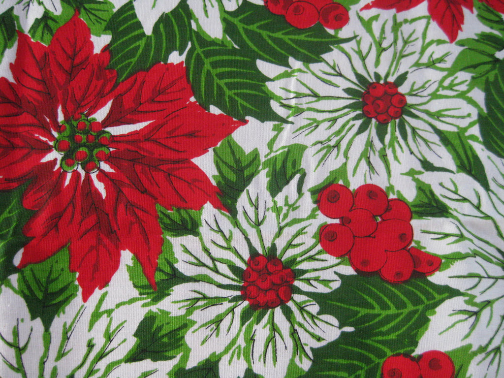 Christmas Poinsettia MWT Vintage Printed Tablecloth (69 X 50)