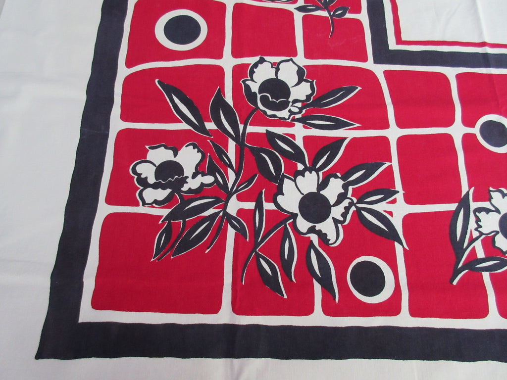 Mod Navy Blue Flowers on Red Floral Vintage Printed Tablecloth (50 X 50)