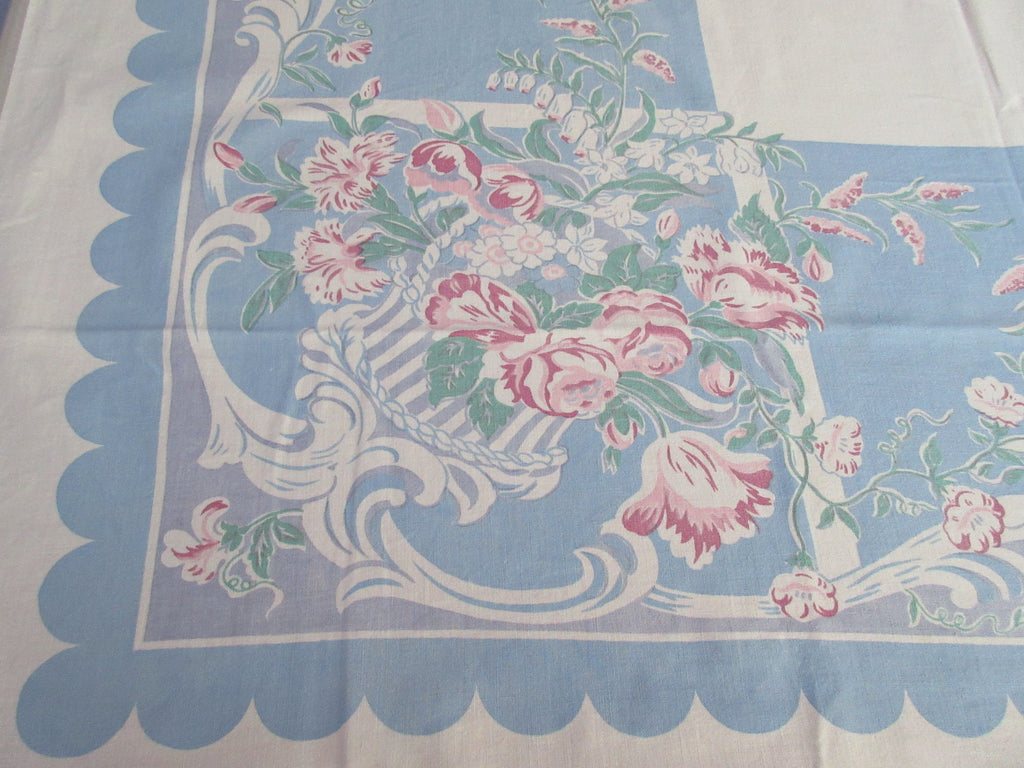 Pink Green Baskets on Blue Floral Vintage Printed Tablecloth (51 X 47)