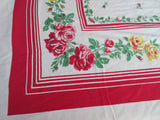 Yellow Green Roses on Red Floral Vintage Printed Tablecloth (64 X 51)