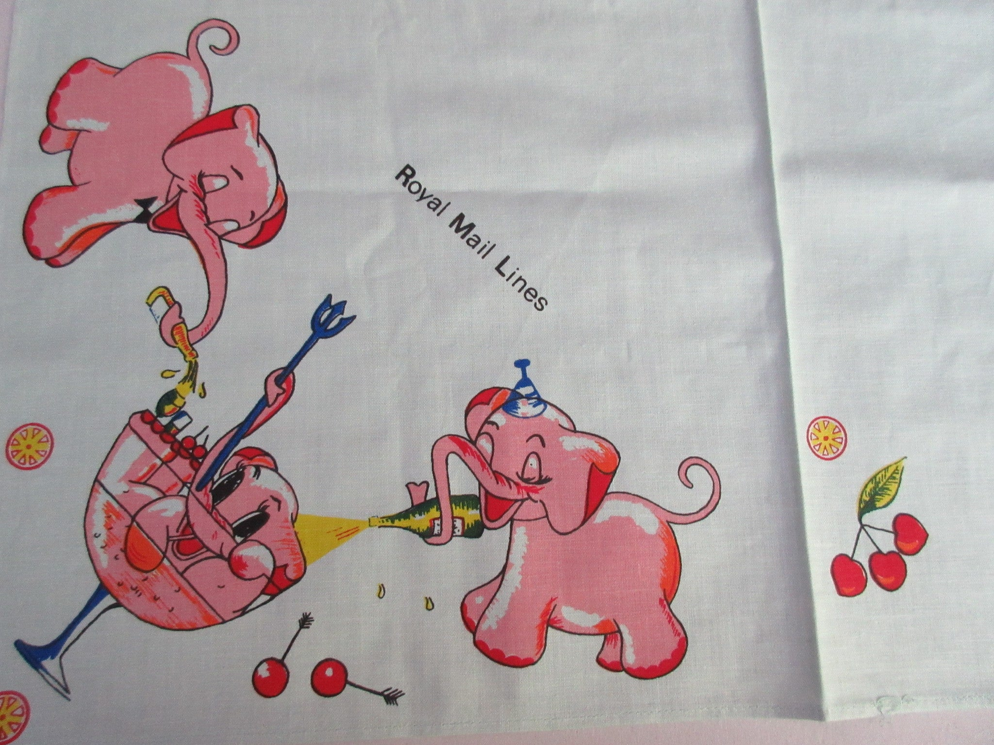 Rare Pink Elephants and Cocktails AQUA Royal Mail Topper Vintage Printed Tablecloth (53 X 49)