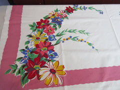 Bright Primary Flower Spray on Pink Wilendur? Floral Vintage Printed Tablecloth (51 X 49)