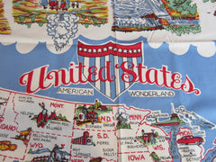 Unwashed United States Map Souvenir Novelty Vintage Printed Tablecloth (49 X 49)