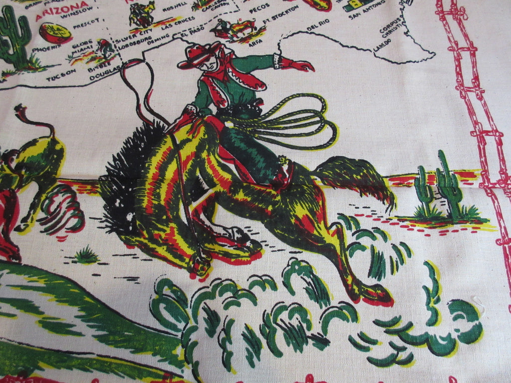 Unwashed Western States Map Souvenir Novelty Vintage Printed Tablecloth (49 X 49)