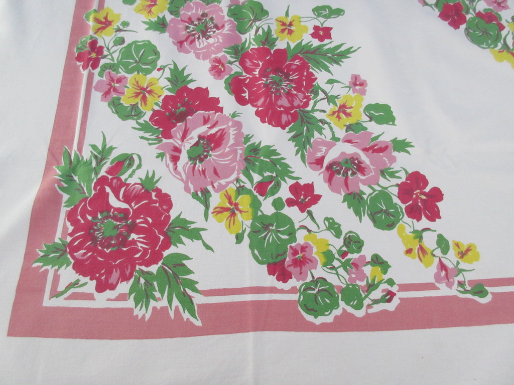 Early Heavy Pink Yellow Nasturtiums Floral Vintage Printed Tablecloth (71 X 55)