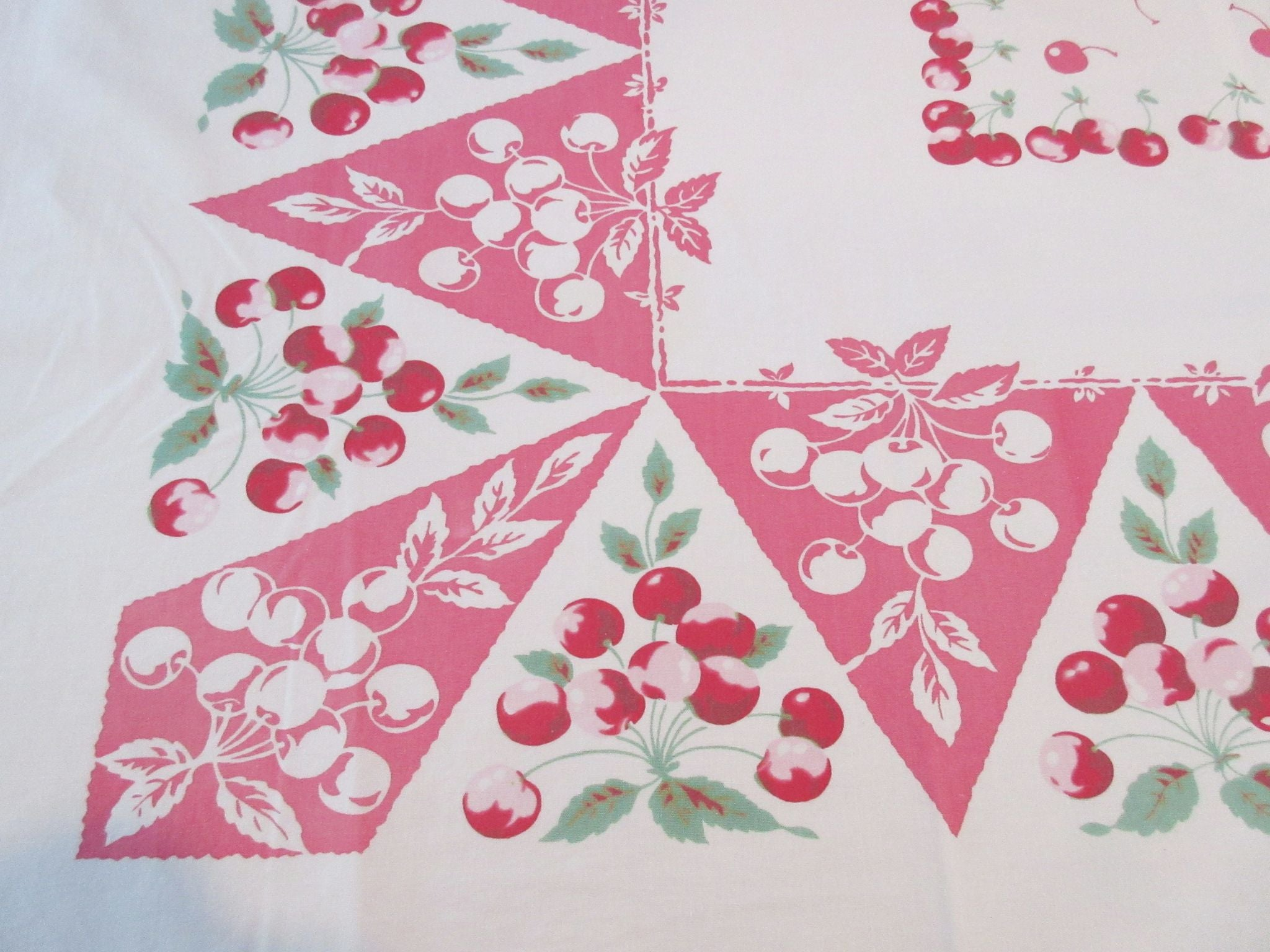 Cherries on Pink Pyramids Fruit Vintage Printed Tablecloth (53 X 45)