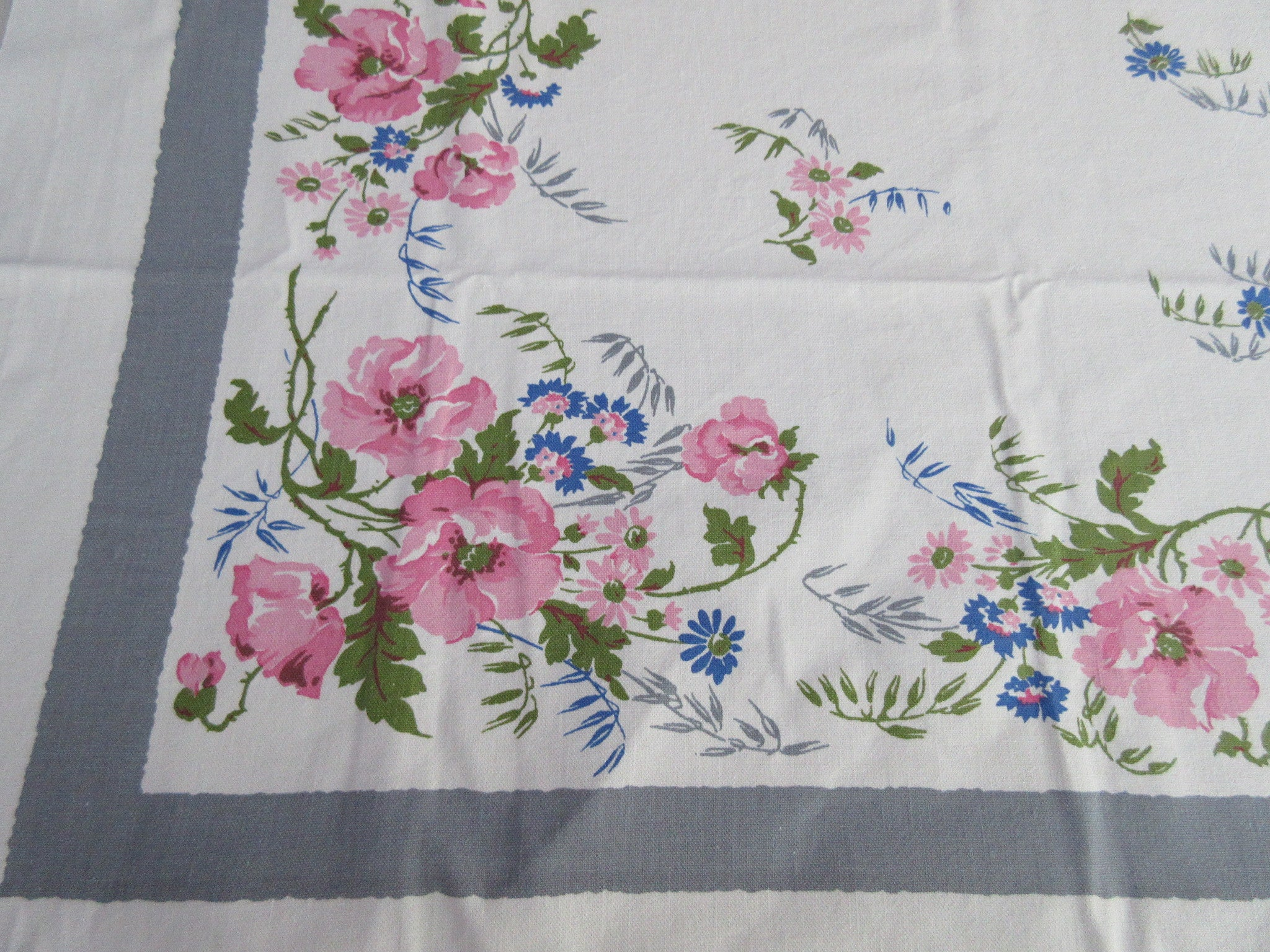 Pastel Pink Blue Roses on Gray Floral Vintage Printed Tablecloth (54 X 47)