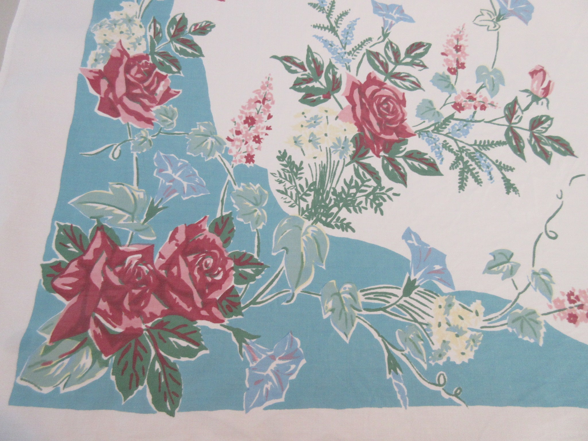 Larger Roses on Teal Colorway! Floral Vintage Printed Tablecloth (62 X 51)