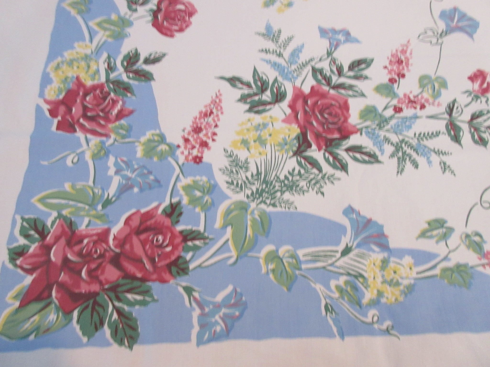 Roses on French Blue Colorway! Floral Vintage Printed Tablecloth (51 X 45)