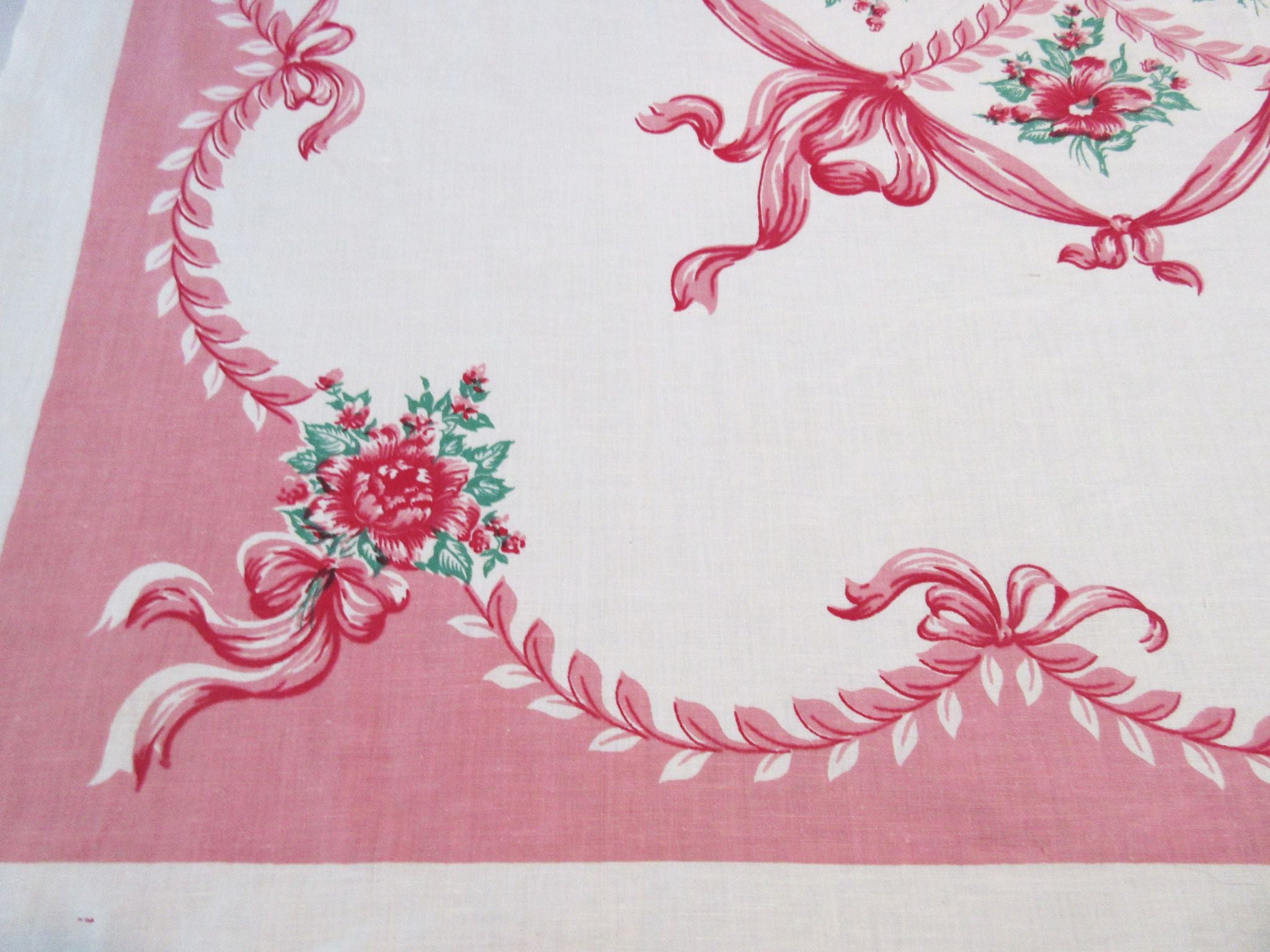 Stunning Hibiscus on Pink Ribbons Linen Floral Vintage Printed Tablecloth (51 X 49)