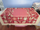 Magenta Cupboard Shelves Dishes Linen MWT Novelty Vintage Printed Tablecloth (52 X 51)