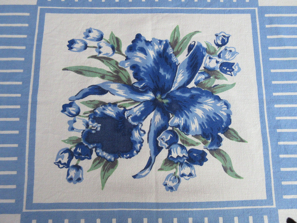 Blue Green Orchids on Stripes Floral Vintage Printed Tablecloth (50 X 44)