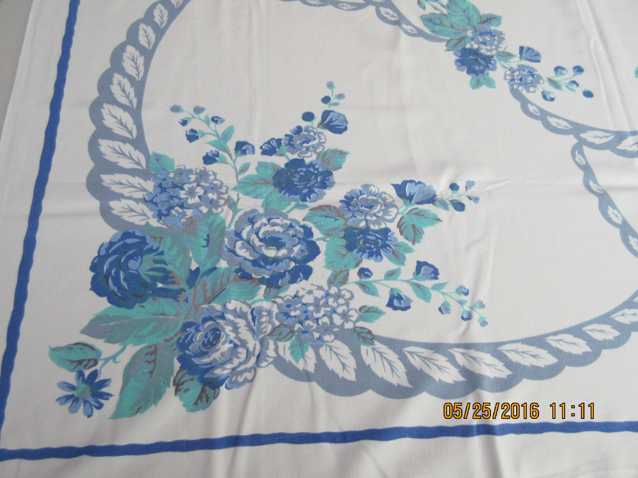 Soft Blue Green Roses on Blue Floral Vintage Printed Tablecloth (51 X 45)
