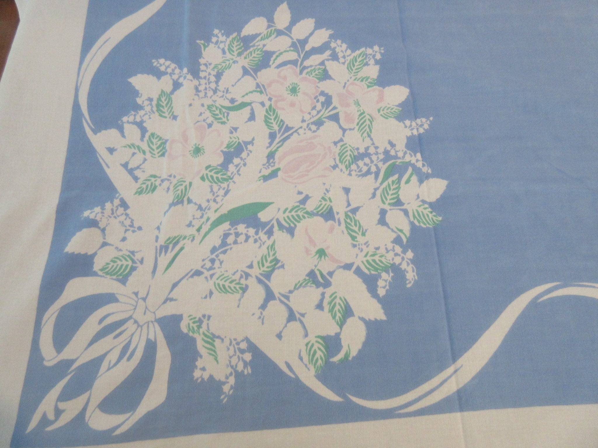 Large Lily of the Valley on Blue Floral Vintage Printed Tablecloth (80 X 62)