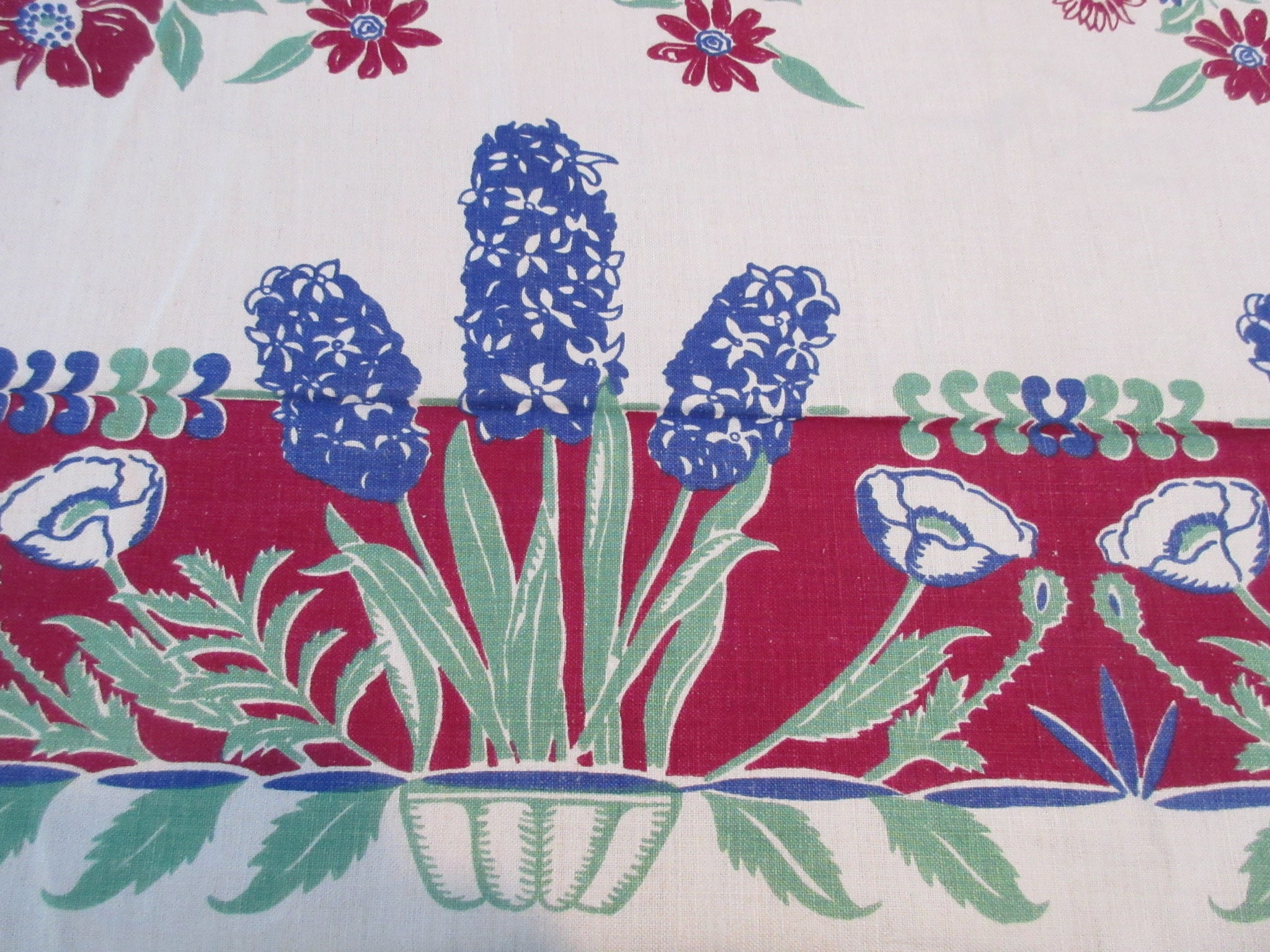 Stunning Blue Hyacinths Poppies on Magenta Linen Floral Vintage Printed Tablecloth (70 X 52)