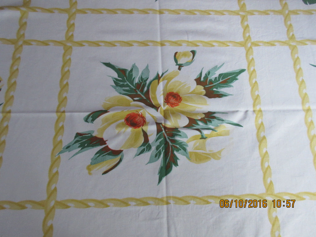 Wilendur Yellow Green Poppies with Ropes Floral Vintage Printed Tablecloth (55 X 46)