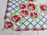 Red Dahlias on Teal Trellis Cutter? Floral Vintage Printed Tablecloth (54 X 46)