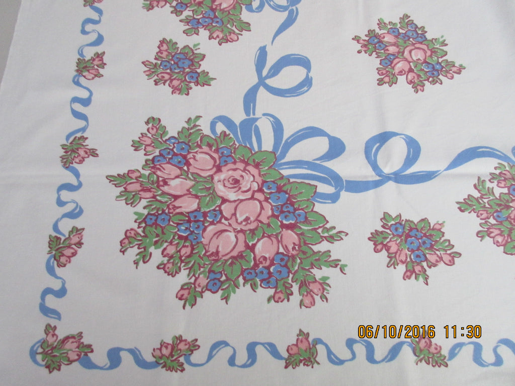 Pink Green Roses Blue Ribbons Floral Vintage Printed Tablecloth (51 X 45)