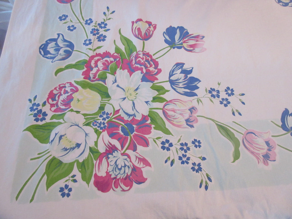 Larger Shabby Tulips on Aqua Floral Vintage Printed Tablecloth (74 X 47)