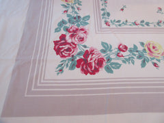 Larger Red Yellow Roses on Taupe Floral Vintage Printed Tablecloth (72 X 55)