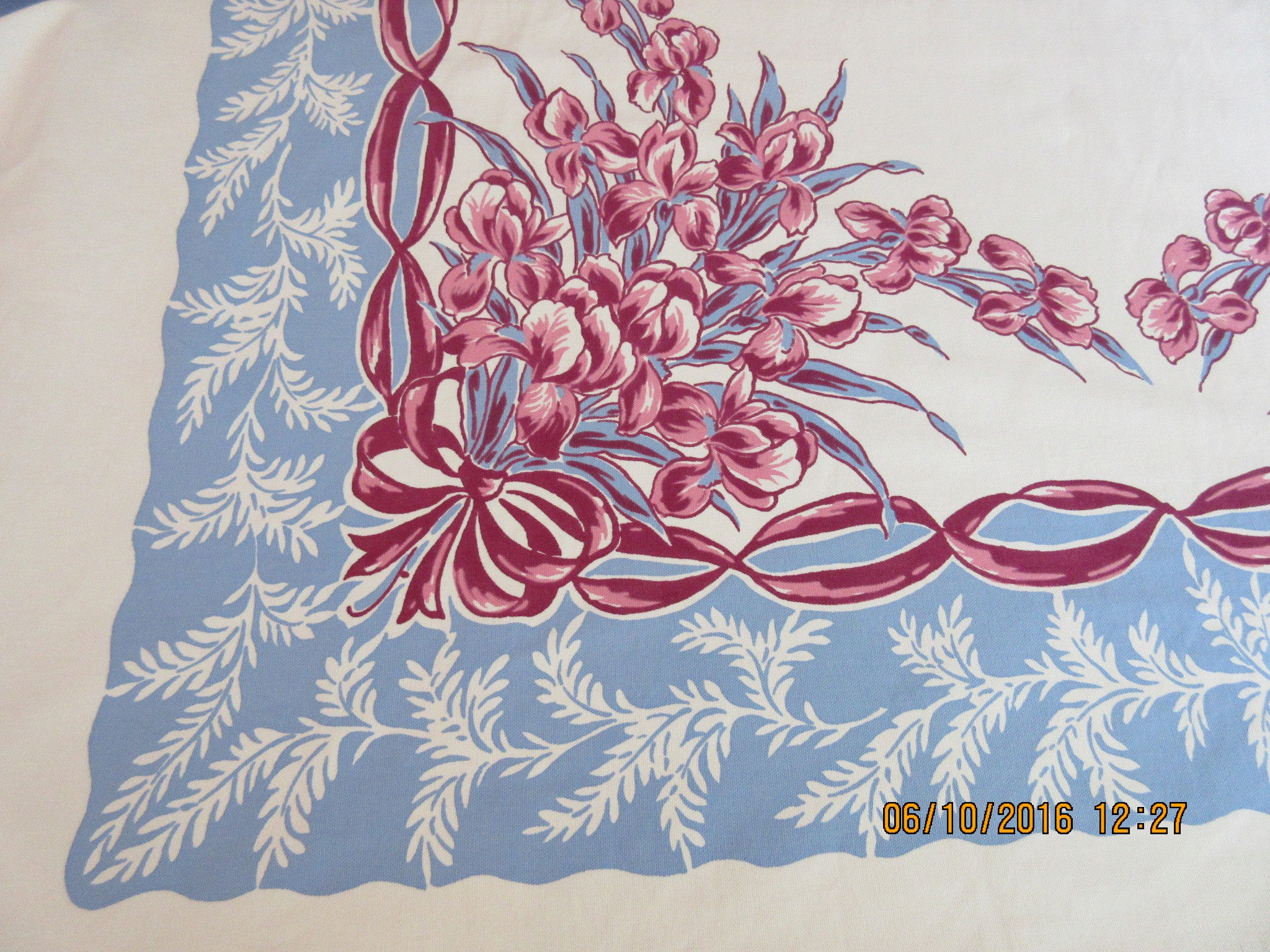 Large Pink Magenta Iris Bows on Blue Floral Vintage Printed Tablecloth (72 X 60)