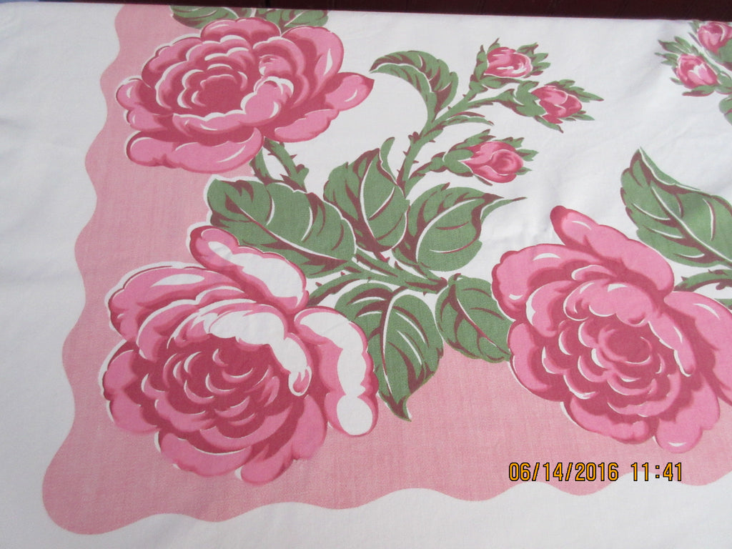 Shabby Pink Green Cabbage Roses on Pink Floral Vintage Printed Tablecloth (51 X 47)