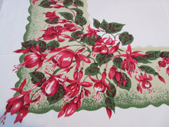 HTF CHP Fuscias on Green Bright Floral Vintage Printed Tablecloth (52 X 45)