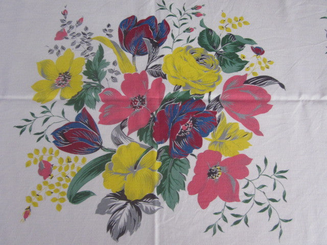 Pink Yellow Magenta Blue Floral Vintage Printed Tablecloth (54 X 50)