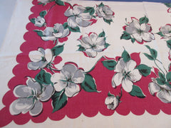 Gray Wild Roses on Deep Red Linen Floral Vintage Printed Tablecloth (49 X 49)
