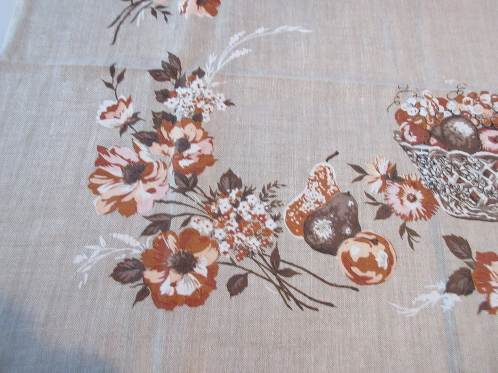 60s Fall Fruit Bowls on Burlap MWT Linen Vintage Printed Tablecloth (49 X 49)