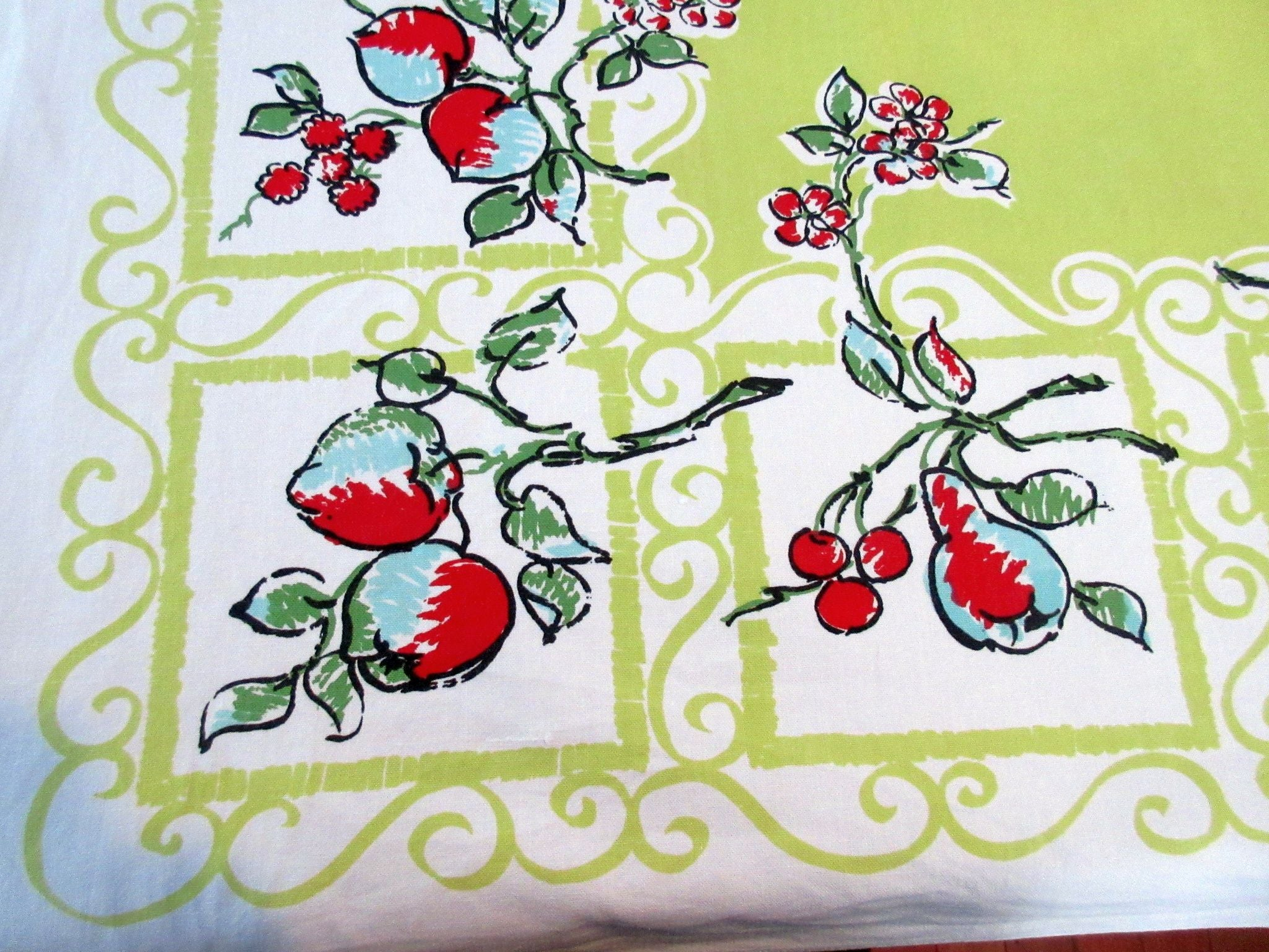 Mod Fruit on Chartreuse Vintage Printed Tablecloth (53 X 50)