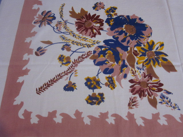 Blue Smudgy Flowers on Pink Vintage Printed Tablecloth (51 X 48)