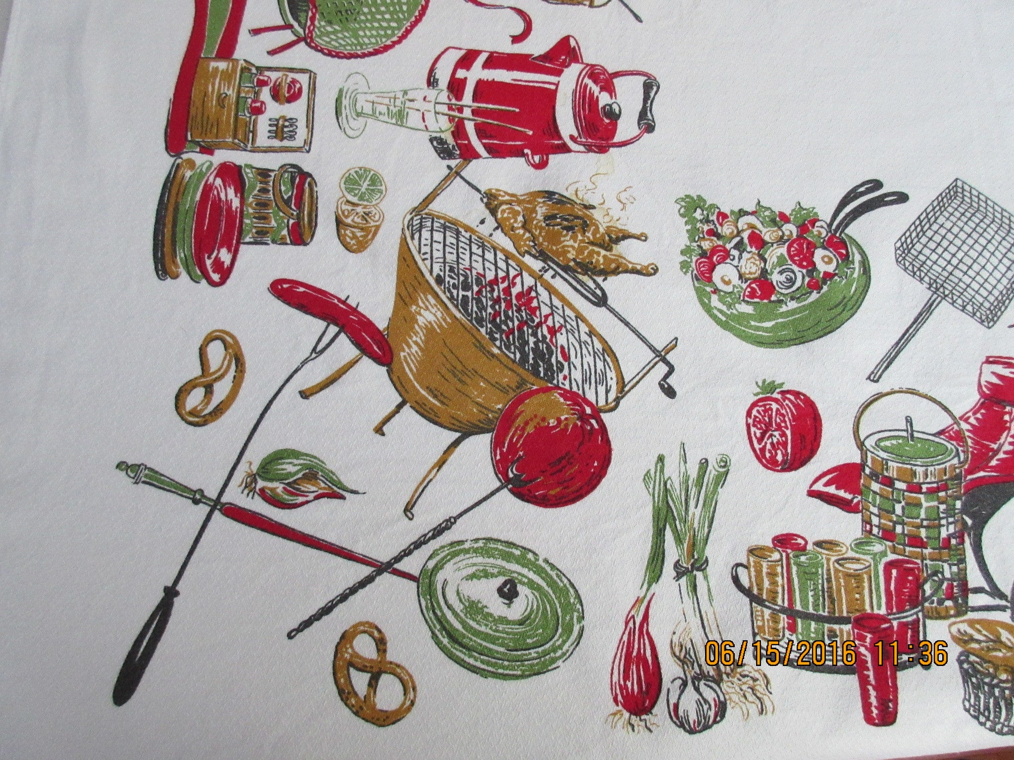 HTF Broderie Cookout Barbecue BBQ Novelty Vintage Printed Tablecloth (53 X 48)