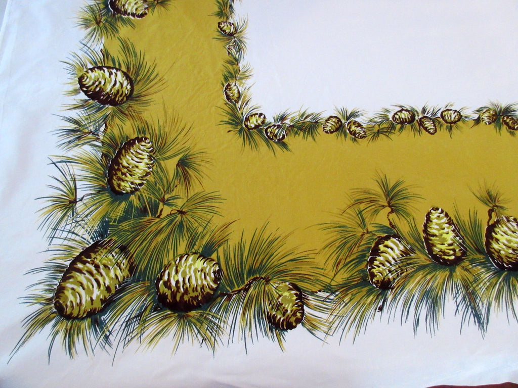 CHP Pinecones on Gold Novelty Vintage Printed Tablecloth (64 X 52)