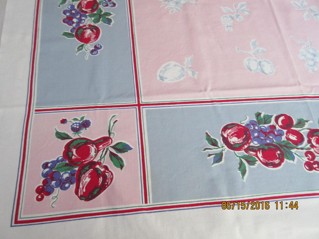 Fruit on Pink Gray Blue Apples Vintage Printed Tablecloth (52 X 50)