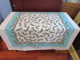 Red Green Currants on Aqua Fruit Vintage Printed Tablecloth (52 X 48)