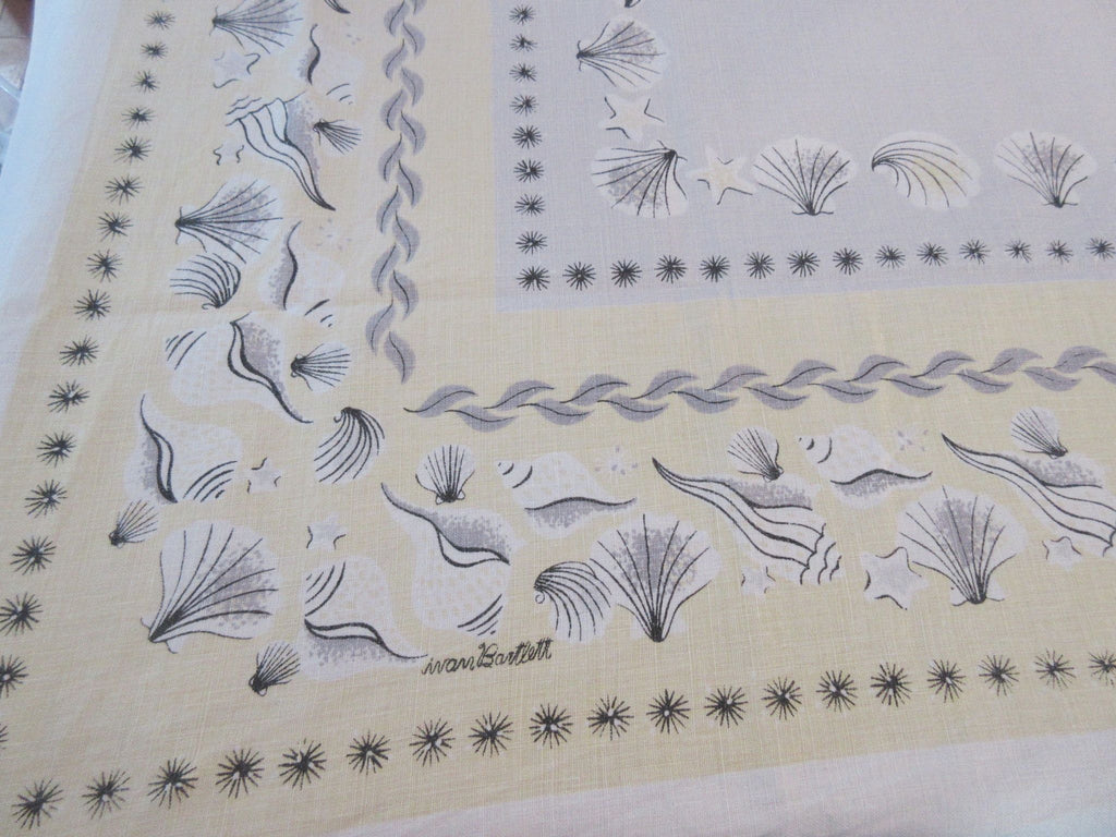 HTF Ivan Bartlett Shells Linen Novelty Vintage Printed Tablecloth (66 X 51)