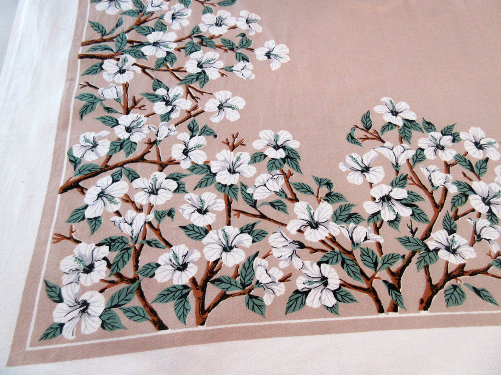 Hibiscus Branches on Tan Floral Vintage Printed Tablecloth (52 X 49)