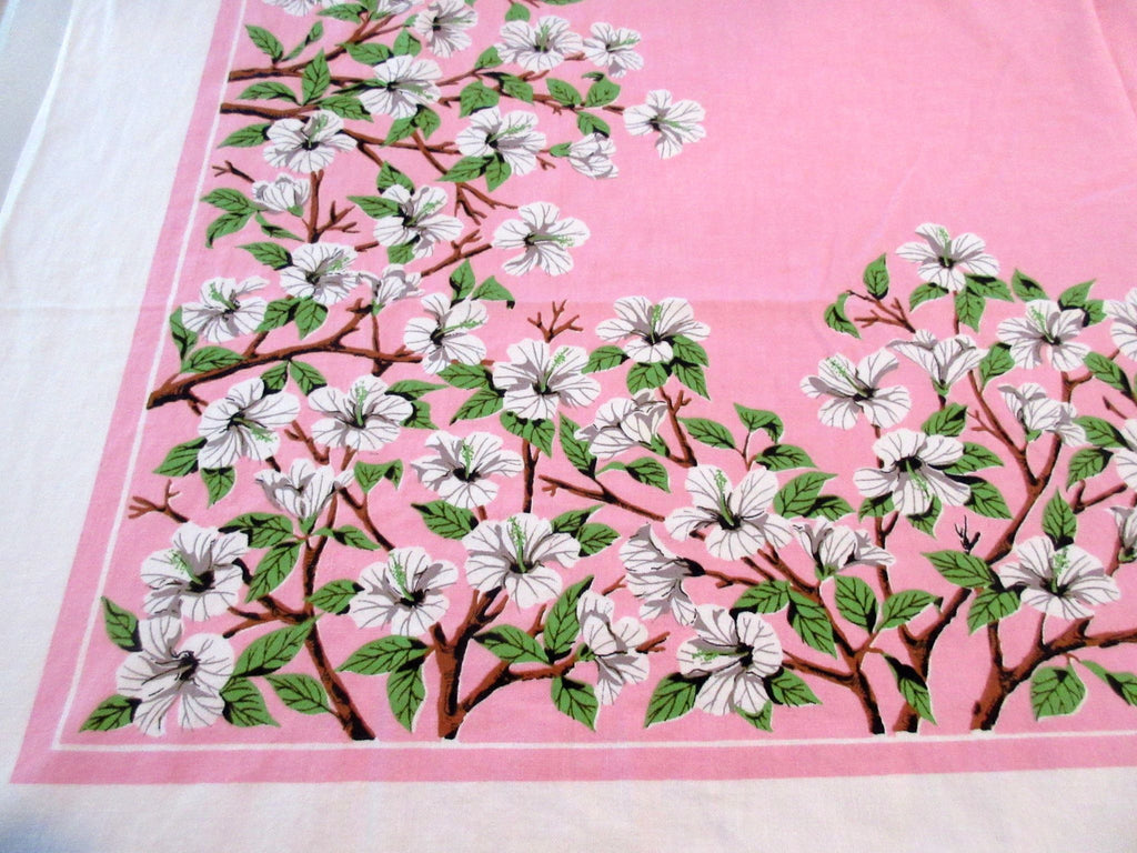Hibiscus Branches on Pink Floral Vintage Printed Tablecloth (51 X 47)