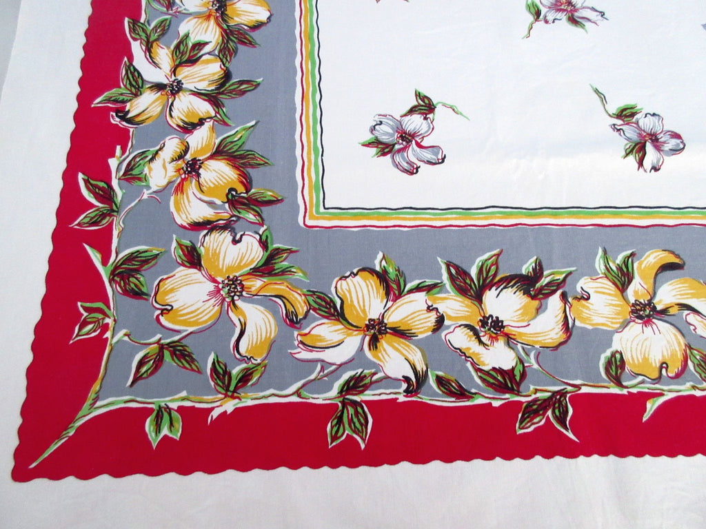 Wilendur Dogwood on Red Gray Floral Vintage Printed Tablecloth (53 X 48)