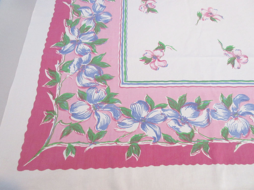 Wilendur Dogwood on Pink Floral Vintage Printed Tablecloth (53 X 49)