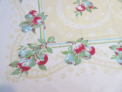 HTF Apples Pears on Yellow Fruit Vintage Printed Tablecloth (50 X 49)