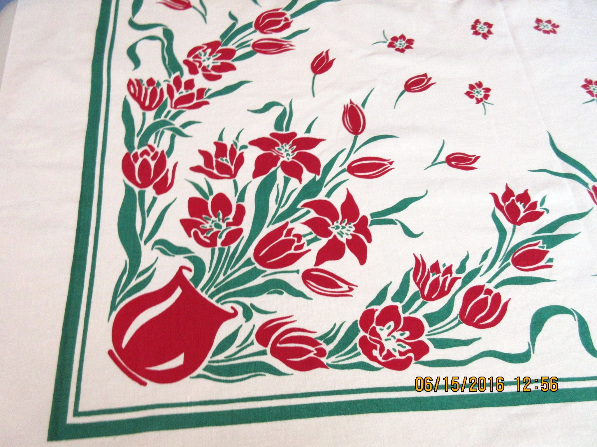 Glorious Red Green Lilies Tulips Vases Floral Vintage Printed Tablecloth (53 X 49)