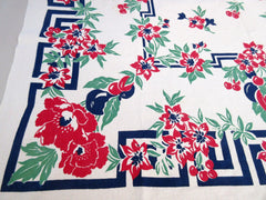 Bright Early Poppies and Fruit Greek Key Vintage Printed Tablecloth (48 X 46)