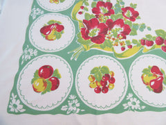 Fruit Plates Hibiscus on Green Vintage Printed Tablecloth (74 X 55)
