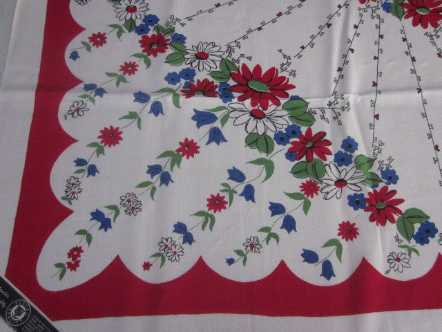 Primary Blue Green Floral on Red MWT Vintage Printed Tablecloth (51 X 49)