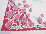 Shabby Large Pink Tulips on Red Floral Vintage Printed Tablecloth (69 X 57)