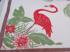 Shabby Flamingos Palm Trees Novelty Vintage Printed Tablecloth (